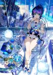 1girl :q ankle_strap aqua_eyes bangs bare_legs belt blue_flower blue_hair blue_nails blue_shirt blue_theme book chair clock closed_mouth clothing_cutout collarbone commentary_request crossed_ankles cup drinking_glass eyewear_on_head fingernails flower food from_above front-tie_top full_body fuzichoco glass glass_bowl glass_chair glass_footwear glass_table glass_wall hand_up highres holding holding_cup hologram indoors legs long_sleeves looking_at_viewer nail_polish navel navel_cutout original plant platform_footwear potted_plant purple-tinted_eyewear round_eyewear sandals see-through see-through_sleeves shadow shirt short_hair short_shorts shorts side_cutout sitting smile solo stairs sunglasses table thigh_gap thighs toenails tongue tongue_out tsurime water white_shorts