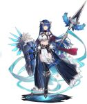 1girl ark_order armor armored_boots athena_(ark_order) bangs belt black_footwear black_legwear black_shorts blue_hair boots echj gauntlets highres holding holding_polearm holding_shield holding_spear holding_weapon laurel_crown long_hair looking_at_viewer official_art pelvic_curtain polearm red_eyes shield shorts sidelocks solo sparkle spear tachi-e tank_top thigh-highs transparent_background very_long_hair weapon white_tank_top