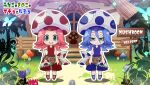 2girls animal bare_shoulders belt blue_eyes blue_flower blush blush_stickers bug butterfly chibi closed_mouth english_text fantasy fireflies flower fog frown ghost glowing glowing_butterfly gradient hair_between_eyes half-closed_eyes hand_on_hip hat house insect kubota_masaki long_hair multiple_girls mushroom open_mouth original outdoors outline polka_dot red_flower red_headwear rock round_teeth sign silhouette standing teeth tree upper_teeth white_outline