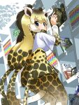1girl absurdres animal_ears blonde_hair blue_eyes book bookshelf brown_hair commentary_request extra_ears eyebrows_visible_through_hair from_below giraffe_ears giraffe_horns giraffe_print giraffe_tail highres horns iwa_(iwafish) kemono_friends long_hair long_sleeves looking_at_viewer multicolored_hair pantyhose pleated_skirt print_legwear print_neckwear print_skirt print_sleeves reticulated_giraffe_(kemono_friends) scarf shirt short_sleeves skirt solo t-shirt tail white_shirt