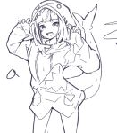 1girl :d animal_costume animal_hood bangs blunt_bangs cowboy_shot fish_tail gawr_gura greyscale hands_up harmhaunters hololive hololive_english hood lineart looking_at_viewer monochrome open_mouth shark_costume shark_girl shark_hood shark_tail sharp_teeth sketch sleeves_past_wrists smile solo standing tail teeth virtual_youtuber