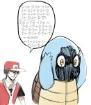 1boy 1other baseball_cap brown_hair cosplay crossover death_note english_commentary gen_1_pokemon gold_trim hat highres jersey math pokemon pokemon_(creature) pokemon_(game) pokemon_rgby red_(pokemon) red_(pokemon)_(cosplay) red_eyes red_headwear shaded_face speech_bubble squirtle trigonometry yagami_light yourfreakyneighbourh