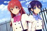 2girls absurdres aqua_inc. blue_eyes blue_hair highres kanojo_mo_kanojo magazine_scan minase_nagisa multiple_girls newtype official_art outdoors red_eyes redhead saki_saki_(kanojo_mo_kanojo) scan