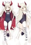 1girl arms_up ass bangs bare_shoulders barefoot bed_sheet black_swimsuit blush brown_eyes cape commentary_request curled_horns dakimakura_(medium) demon_girl demon_horns demon_tail elbow_gloves emma_august eyebrows_visible_through_hair gloves grey_hair hair_between_eyes highres horns looking_at_viewer lying multiple_views nijisanji old_school_swimsuit on_back on_side open_mouth pointy_ears red_cape school_swimsuit shiratama_(shiratamaco) single_thighhigh striped striped_legwear swimsuit tail thigh-highs torn_cape torn_clothes virtual_youtuber white_gloves
