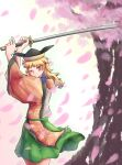 1girl arms_up bangs belt black_headwear blonde_hair blush brown_headwear cape cherry_blossoms closed_mouth detached_sleeves eyebrows_visible_through_hair green_belt green_skirt hands_up hat highres katana long_hair long_sleeves looking_at_viewer matara_okina one_eye_closed orange_cape orange_eyes orange_sleeves petals shirt skirt smile solo standing sun_symbol sword touhou tree weapon white_background white_shirt yu_cha