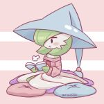 1girl :t =3 alternate_costume annoyed artist_name bangs bare_shoulders bellavoirr black_eyes blue_headwear blush blush_stickers bob_cut book closed_mouth clothed_pokemon colored_skin commentary cosplay cushion english_commentary flat_chest full_body gardevoir gen_3_pokemon gen_8_pokemon green_hair green_skin hair_over_one_eye hat hatterene hatterene_(cosplay) holding holding_book long_sleeves looking_down mixed-language_commentary multicolored multicolored_skin off-shoulder_sweater off_shoulder open_book pink_background pink_sweater pokemon pokemon_(creature) pout reading shiny shiny_hair short_hair sideways_mouth signature simple_background sitting sketch solo sweater two-tone_background two-tone_skin white_skin witch_hat