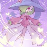 1girl alternate_costume artist_name bangs bare_shoulders bellavoirr blue_headwear blush bob_cut bow clothed_pokemon colored_skin commentary cosplay english_commentary flat_chest full_body gardevoir gen_3_pokemon gen_8_pokemon green_hair green_skin hair_over_one_eye happy hat hat_bow hatterene hatterene_(cosplay) heart highres light_trail long_sleeves looking_to_the_side mixed-language_commentary multicolored multicolored_skin off-shoulder_sweater off_shoulder open_mouth pink_bow pink_sweater pokemon pokemon_(creature) puffy_long_sleeves puffy_sleeves purple_background red_eyes shiny shiny_hair shiny_skin short_hair signature smile solo standing sweater two-tone_skin white_skin witch_hat