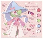 1girl alternate_costume arrow_(symbol) artist_name bangs bare_shoulders bellavoirr blue_headwear blush bob_cut border bow character_name character_sheet closed_mouth clothed_pokemon color_guide colored_skin commentary cosplay drop_shadow ear_piercing english_commentary english_text flat_chest full_body gardevoir gen_3_pokemon gen_8_pokemon green_hair green_skin hair_ornament hair_over_one_eye hairclip happy hat hat_bow hatterene hatterene_(cosplay) height long_sleeves looking_to_the_side mixed-language_commentary multicolored multicolored_skin off-shoulder_sweater off_shoulder piercing pink_background pink_bow pink_sweater pokemon pokemon_(creature) polka_dot polka_dot_background puffy_long_sleeves puffy_sleeves red_eyes shiny shiny_hair short_hair signature simple_background smile solo standing sweater two-tone_skin venus_symbol white_border white_skin witch_hat x_hair_ornament