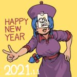1girl 2021 absurdres blue_hair bow braid braided_ponytail breasts chanta_(ayatakaoisii) chinese_zodiac cowboy_shot dated dress hair_bow hand_on_hip happy_new_year highres jiangshi_(chanta) long_hair new_year open_mouth original pants purple_dress purple_headwear red_bow simple_background smile solo v very_long_hair year_of_the_ox yellow_background yellow_pants