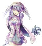 1girl blue_eyes braid breasts cape crown_braid curly_hair dress gloves hat head_wings highres long_hair long_sleeves looking_at_viewer medium_breasts melia_antiqua puffy_sleeves short_dress silver_hair simple_background smile solo thigh-highs upper_body xenoblade_chronicles xenoblade_chronicles_(series) yamayamag1
