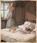 3girls absurdres animal_ears apron blue_dress book brown_hair bunny_tail child commentary cup dress fur headboard highres holding holding_book lamp long_hair looking_out_window lying multiple_girls on_back on_bed on_stomach original pillow plant potted_plant rabbit_ears rabbit_girl sakutake_(ue3sayu) shelf short_ponytail tail teacup white_apron window windowsill