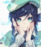 1boy androgynous aqua_eyes aqua_hair beret black_hair blue_hair braid feathers flower frilled_sleeves frills genshin_impact gradient_hair green_headwear hands_on_own_cheeks hands_on_own_face hat hat_flower hat_ornament highres long_sleeves looking_at_viewer multicolored_hair short_hair_with_long_locks simple_background smile solo sora_402 twin_braids venti_(genshin_impact) white_background white_flower