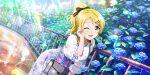ayase_eli blonde_hair blue_eyes blush dress long_hair love_live!_school_idol_festival_all_stars ponytail wink