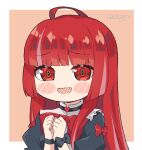 1girl bangs black_bow black_dress blush bow chibi dress eyebrows_visible_through_hair fang hands_together hololive hololive_indonesia juliet_sleeves kukie-nyan kureiji_ollie long_sleeves looking_at_viewer olivia_(kureiji_ollie) puffy_sleeves red_bow red_eyes solo twitter_username upper_body virtual_youtuber wrist_bow
