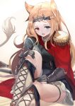 1girl :d animal_ears archetto_(arknights) arknights artist_name black_corset black_dress blonde_hair blue_eyes boots breasts cape commentary corset cross-laced_footwear dress fang gloves hand_on_own_knee hand_on_own_thigh heterochromia highres knee_up lace-up_boots long_hair looking_at_viewer medium_breasts nokke_o open_mouth red_cape red_eyes sitting skin_fang smile thigh_strap white_background white_footwear wrist_guards