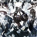 1girl absurdres armor armored_dress bangs black_dress black_gloves breasts chain dress fate/grand_order fate_(series) gloves headpiece highres jeanne_d'arc_(alter)_(fate) jeanne_d'arc_(fate)_(all) kusakanmuri long_hair looking_at_viewer open_mouth silver_hair solo upper_body yellow_eyes