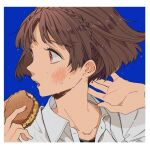 1girl arms_up bangs black_shirt black_undershirt blue_background blunt_bangs blush border braid brown_hair collar collared_shirt crown_braid dress_shirt food hands_up holding holding_food ice_cream ice_cream_sandwich ivxxx looking_to_the_side niijima_makoto open_mouth persona persona_5 red_eyes shirt short_hair simple_background snack sweat sweatdrop sweating_profusely teeth turning_head white_border white_shirt