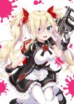 1girl black_footwear blonde_hair blue_eyes blush bow breasts cross frills gloves gun hair_bow holding holding_gun holding_weapon kubota_masaki looking_at_viewer open_mouth original puffy_sleeves red_bow red_neckwear solo splatter teeth tongue twintails upper_teeth weapon white_background white_gloves white_legwear