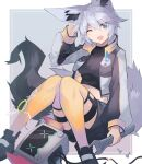 1girl animal_ears black_footwear black_shirt black_shorts blue_eyes breasts collarbone commission disembodied_head fang fox_ears fox_girl fox_tail full_body hair_between_eyes hand_on_own_head holding holding_wrench knees_up looking_at_viewer medium_breasts midriff navel one_eye_closed open_mouth original sasa_onigiri screw shirt shoes shorts sitting skeb_commission solo tail thigh-highs white_hair wrench yellow_legwear