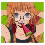 1girl armpits arms_up bangs black_tank_top blunt_bangs blush border eating food glasses green_background hands_in_hair headphones headphones_around_neck headphones_removed hime_cut ivxxx long_hair open_mouth orange_hair persona persona_5 popsicle sakura_futaba simple_background snack solo sweat sweatdrop sweating_profusely tank_top v_arms violet_eyes white_border