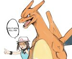 1girl black_wristband blue_shirt brown_eyes brown_hair bucket_hat charizard closed_eyes english_commentary english_text gen_1_pokemon hat highres leaf_(pokemon) long_hair muscular pointing pointing_forward pokemon pokemon_(game) pokemon_frlg rape_face shirt sleeveless sleeveless_shirt veins white_headwear wristband yourfreakyneighbourh