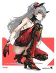 1girl absurdres cyborg darkers expressionless eyebrows_visible_through_hair grey_hair headgear highres long_hair looking_at_viewer mecha_musume mechanical_arms mechanical_legs mechanical_parts original simple_background solo squatting two_side_up yellow_eyes