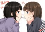 2girls absurdres black_hair black_shirt blue_eyes commentary_request dated english_text eye_contact eyebrows_visible_through_hair food from_side hands_on_own_chin heart heart-shaped_pupils highres hood hoodie long_sleeves looking_at_another multiple_girls original pocky pocky_day pocky_kiss profile purple_hoodie shiro_namida shirt short_hair signature simple_background striped striped_shirt symbol-shaped_pupils upper_body white_background yuri