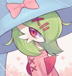 1girl absurdres alternate_costume bangs bare_shoulders bellavoirr blue_headwear blush bob_cut bow clothed_pokemon colored_skin commentary cosplay english_commentary flat_chest gardevoir gen_3_pokemon gen_8_pokemon green_hair green_skin hair_ornament hair_over_one_eye hairclip hat hat_bow hatterene hatterene_(cosplay) highres long_sleeves looking_to_the_side mixed-language_commentary multicolored multicolored_skin no_mouth off-shoulder_sweater off_shoulder pink_bow pink_sweater pokemon pokemon_(creature) red_eyes short_hair solo sweater two-tone_skin upper_body white_background white_skin witch_hat x_hair_ornament