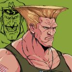 2boys blonde_hair dog_tags frown green_background grin guile hat honjojnoh male_focus multiple_boys simple_background smile street_fighter tattoo teeth vega