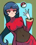 1girl akairiot bangs black_bodysuit black_hair blunt_bangs bodysuit breasts covered_navel crop_top eyebrows_visible_through_hair gloves hand_up highres long_hair long_sleeves looking_at_viewer medium_breasts poke_ball poke_ball_(basic) pokemon pokemon_(game) pokemon_rgby red_eyes red_skirt sabrina_(pokemon) skirt solo turtleneck white_gloves