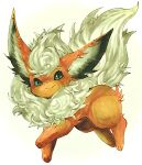 animal_focus closed_mouth commentary_request flareon fluffy full_body gen_1_pokemon gradient gradient_background green_eyes happy highres looking_at_viewer marker_(medium) mofuo no_humans pokemon pokemon_(creature) simple_background smile solo standing traditional_media white_background