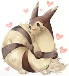 :3 animal_focus black_eyes commentary_request facial_mark furret gen_2_pokemon happy heart heart_background highres looking_at_viewer marker_(medium) mofuo no_humans open_mouth pokemon pokemon_(creature) simple_background smile solo standing traditional_media whisker_markings white_background