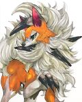 animal_focus claws closed_mouth commentary_request fluffy gen_7_pokemon green_eyes half-closed_eyes highres looking_to_the_side lycanroc lycanroc_(midday) marker_(medium) mofuo no_humans pokemon pokemon_(creature) simple_background solo standing traditional_media white_background