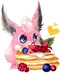blue_eyes blueberry cherry commentary cream english_commentary fluffy food food_focus fruit gen_1_pokemon happy heart highres leaf marker_(medium) mint mofuo open_mouth oversized_food pancake pokemon pokemon_(creature) simple_background smile solo standing star_(symbol) star_in_eye strawberry symbol_in_eye traditional_media white_background wigglytuff