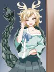 1girl aqua_shirt bangs bare_shoulders blonde_hair blush breasts clothes_lift collarbone commentary_request cowboy_shot doorway dragon_horns dragon_tail gradient gradient_background green_skirt grey_background horns kakineko kicchou_yachie lifted_by_self long_sleeves messy_hair off_shoulder one_eye_closed open_mouth outline red_eyes rubbing_eyes shirt shirt_lift short_hair simple_background skirt small_breasts solo swept_bangs tail touhou turtle_shell white_outline