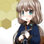 1girl bag blue_coat coat commentary_request cosplay dolphin flying_sweatdrops green_eyes grey_hair gun handgun holding honeycomb_(pattern) honeycomb_background kantai_collection long_hair looking_at_viewer low_twintails messenger_bag mikura_(kancolle) nambu_type_14 ouno_(nounai_disintegration) shoulder_bag solo souya_(kancolle) souya_(kancolle)_(cosplay) twintails upper_body weapon