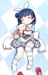 1girl alice_(alice_in_wonderland) alice_(alice_in_wonderland)_(cosplay) alice_in_wonderland bangs blue_dress blue_hair blue_headwear closed_eyes closed_mouth club_(shape) cosplay diamond_(shape) dress eyebrows_visible_through_hair facing_viewer feet_out_of_frame frilled_dress frilled_sailor_collar frills hair_bun hair_ribbon hat heart highres langbazi love_live! love_live!_sunshine!! mini_hat mismatched_legwear object_hug pocket_watch puffy_short_sleeves puffy_sleeves red_footwear ribbon sailor_collar sailor_dress shoes_removed short_sleeves side_bun smile solo spade_(shape) striped striped_legwear stuffed_animal stuffed_bunny stuffed_toy thigh-highs thighhighs_pull tsushima_yoshiko watch white_legwear white_rabbit_(alice_in_wonderland) white_ribbon white_sailor_collar