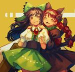 2girls :3 animal_ears arm_cannon arm_garter bangs black_bow black_dress black_hair blouse blush bow braid buttons cat_ears center_frills closed_eyes cowboy_shot dress earrings extra_ears eyebrows_visible_through_hair fang frilled_shirt_collar frills green_bow green_skirt hair_bow half-closed_eyes hand_up hands_on_another's_shoulders high-waist_skirt highres jewelry juliet_sleeves kaenbyou_rin long_hair long_sleeves multiple_girls multiple_tails popped_collar puffy_short_sleeves puffy_sleeves red_bow red_eyes redhead reiuji_utsuho short_sleeves skirt smile tail third_eye touhou traditional_media twin_braids two_tails washman711 wavy_mouth weapon white_blouse