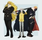 3boys absurdres beard big_hair blonde_hair blush boots closed_eyes closed_mouth collared_shirt cosplay covered_face crossed_arms diez_barrels embarrassed facial_hair facing_viewer formal full-face_blush full_body gloves hands_on_own_face hat height_difference highres holding holding_sword holding_weapon jacket long_hair long_sleeves male_focus mature_male multiple_boys mustache necktie one_piece open_mouth over_shoulder pants sanji sanji_(cosplay) scabbard sheath sheathed shirt shiso_i4 shoes short_hair sideburns smile standing suit suit_jacket sword thigh-highs thigh_boots trafalgar_law trafalgar_law_(cosplay) very_long_hair very_short_hair vinsmoke_judge weapon weapon_over_shoulder wing_collar x_drake x_drake_(cosplay)