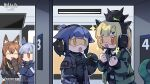 4girls :d :o ^_^ animal_ears arknights black_choker black_collar black_gloves black_jacket black_shirt black_skirt blonde_hair blue_hair blue_jacket brown_gloves brown_hair cat_ears chibi chinese_commentary choker clenched_hand closed_eyes collar copyright_name covering_mouth creature_on_head crossed_arms dragon_girl dragon_horns dragon_tail extra_ears fox_ears franka_(arknights) gloves goggles green_eyes green_jacket gun hair_ornament hairclip hand_over_own_mouth handgun headphones highres holding holding_gun holding_weapon horns implied_extra_ears indoors infection_monitor_(arknights) jacket jessica_(arknights) jitome liskarm_(arknights) long_hair looking_at_another multiple_girls official_art open_clothes open_jacket open_mouth originium_slug_(arknights) pistol ponytail red_eyes shirt shooting_range skirt smile tail upper_body vanilla_(arknights) watermark weapon