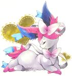 animal_focus closed_eyes closed_mouth commentary from_side full_body gen_6_pokemon happy heart heart_background highres lying mofuo no_humans on_stomach pokemon pokemon_(creature) profile simple_background smile solo sylveon symbol_commentary white_background