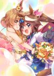 2girls :d animal_ears balloon bare_shoulders black_gloves blue_eyes blush bouquet brown_eyes brown_flower brown_hair brown_rose closed_mouth commentary_request dress ech flower gloves hair_bun hair_ribbon highres holding holding_bouquet horse_ears jacket long_hair long_sleeves mayano_top_gun_(umamusume) multicolored_hair multiple_girls open_mouth outstretched_arm pink_ribbon pleated_skirt ponytail red_flower red_rose ribbon rose skirt sleeves_past_wrists smile sparkle strapless strapless_dress streaked_hair tokai_teio_(umamusume) umamusume white_dress white_flower white_hair white_jacket white_skirt