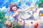 blush d4dj green_eyes hidaka_saori purple_hair short_hair smile wedding wedding_dress wedding_veil