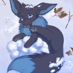 :3 absurdres ancesra animal_focus blue_eyes blush collar commentary commission day eevee english_commentary fang fluffy from_above full_body gen_1_pokemon happy highres leaf light_blush looking_at_viewer lying no_humans on_side open_mouth outdoors paw_print pawpads paws pokemon pokemon_(creature) purple_pupils smile snow snowball solo twig