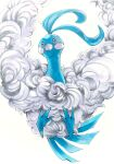altaria animal_focus backlighting blue_eyes blush_stickers closed_mouth commentary_request fluffy from_below gen_3_pokemon highres marker_(medium) mofuo no_humans pokemon pokemon_(creature) simple_background solo traditional_media white_background