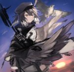 1girl ahoge arknights beret bird black_cape black_gloves black_headwear brown_hair cape falcon feathers gloves hat looking_afar multicolored_hair parted_lips plume_(arknights) sasa_onigiri shirt short_hair sketch solo sunset two-tone_hair unfinished upper_body white_hair white_shirt yellow_eyes