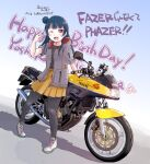 1girl bangs birthday blue_hair commentary_request english_text eyebrows_visible_through_hair ground_vehicle hair_bun happy_birthday highres hood hooded_jacket jacket long_hair looking_at_viewer love_live! love_live!_sunshine!! maruyo motor_vehicle motorcycle one_eye_closed pantyhose red_eyes solo translation_request tsushima_yoshiko