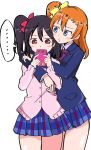 ... 2girls :3 absurdres arms_around_neck black_hair blazer blue_eyes blush_stickers bow cellphone check_commentary commentary_request hair_bow hands_on_another's_shoulders highres holding holding_phone hug jacket kousaka_honoka love_live! love_live!_school_idol_project miniskirt multiple_girls orange_hair phone pleated_skirt red_eyes school_uniform side_ponytail simple_background skirt smartphone speech_bubble thighs wewe white_background yazawa_nico