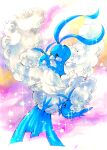 altaria animal_focus blue_eyes closed_eyes closed_mouth commentary fluffy from_side full_body gen_3_pokemon highres jpeg_artifacts looking_at_another marker_(medium) mofuo no_humans pink_background pokemon pokemon_(creature) sparkle star_(symbol) swablu traditional_media