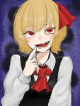 1girl :d ascot bangs beads blonde_hair commentary_request dark_background darkness eyebrows_visible_through_hair finger_to_mouth hair_ribbon hand_up highres index_finger_raised light_blush long_sleeves looking_to_the_side open_mouth purple_background red_eyes red_neckwear red_ribbon ribbon rumia sharp_teeth short_hair simple_background sketch smile solo teeth touhou upper_body wing_collar yomogi_0001